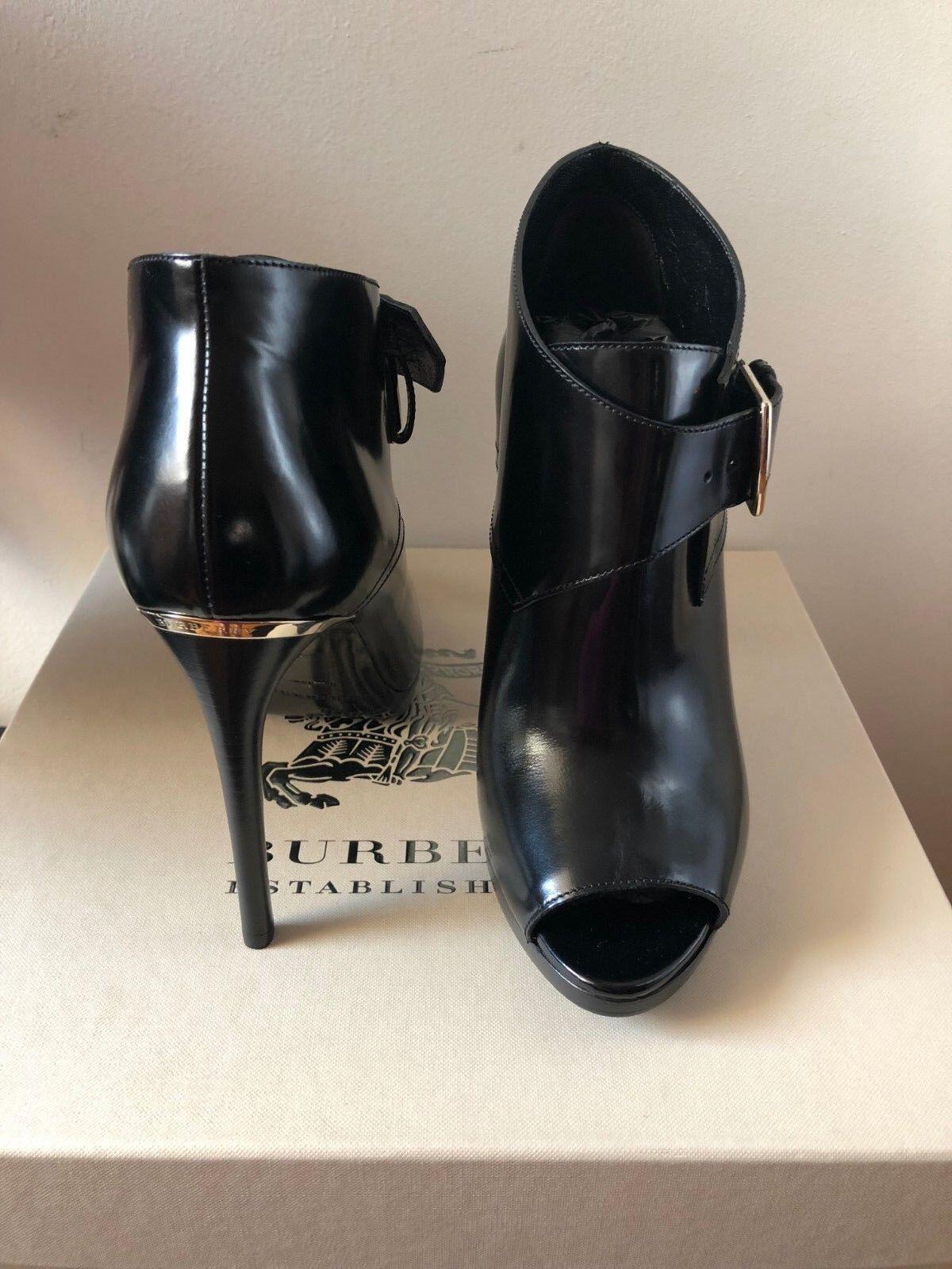 Nuevo Burberry holtsmere Peep Toe Toe Toe Tobillo Zapatos botas Botines De Cuero Negro 6.5 7  el mas reciente