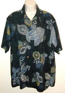 Men-039-s-Tommy-Bahama-Floral-Black-Shirt-Size-M