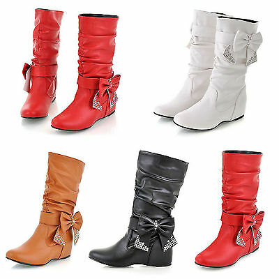 NEW Womens Shoes Knee High Mid Calf Round Toe Flat Slouch Comfort Casual Boots