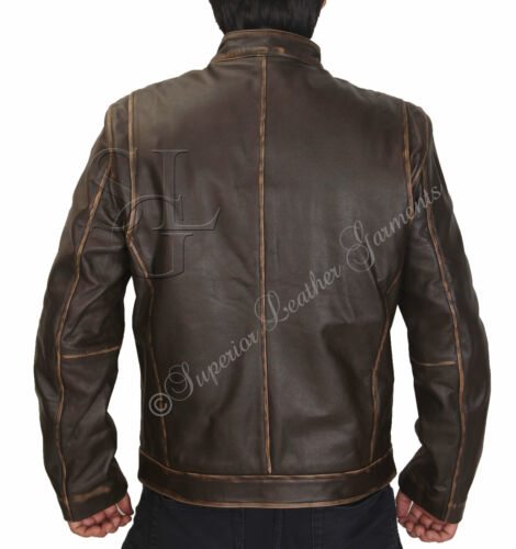 Contraband Mark Wahlbergs Mens Slim Fit Brown Distressed Cow Hide Leather Jacket