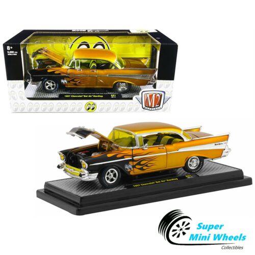 Mooneyes Gold with Black Flames 1957 Chevrolet Bel Air M2 Machine 1:24