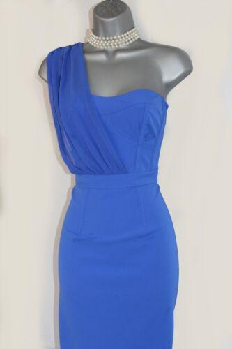 Pencil Karen Party Blue One £299 Cocktail Uk10 Shoulder Millen Royal Dress Eu38 RFR0xZ4