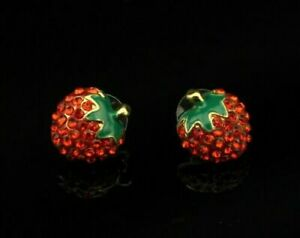 Crystal-Strawberry-Earrings-Betsey-Johnson-Gold-Stud-High-Quality