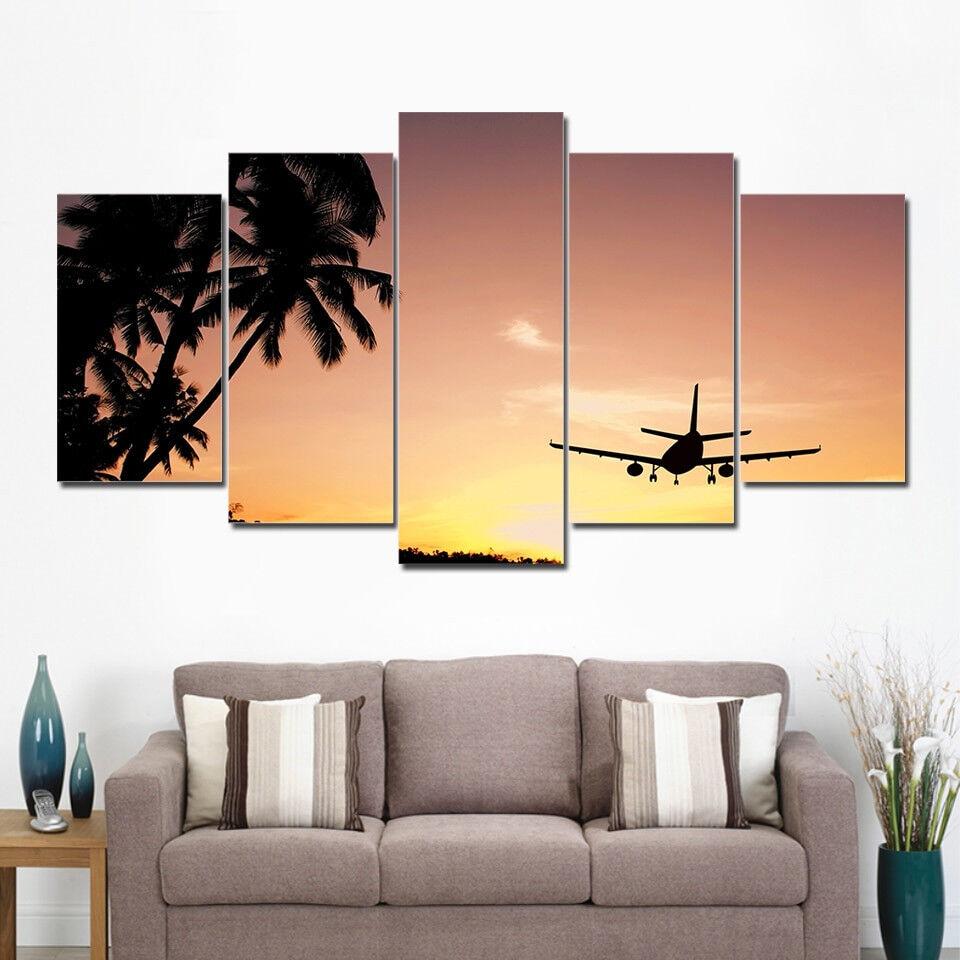 Palm Trees Sunset Airplane 5 Piece Canvas Print Wall Art