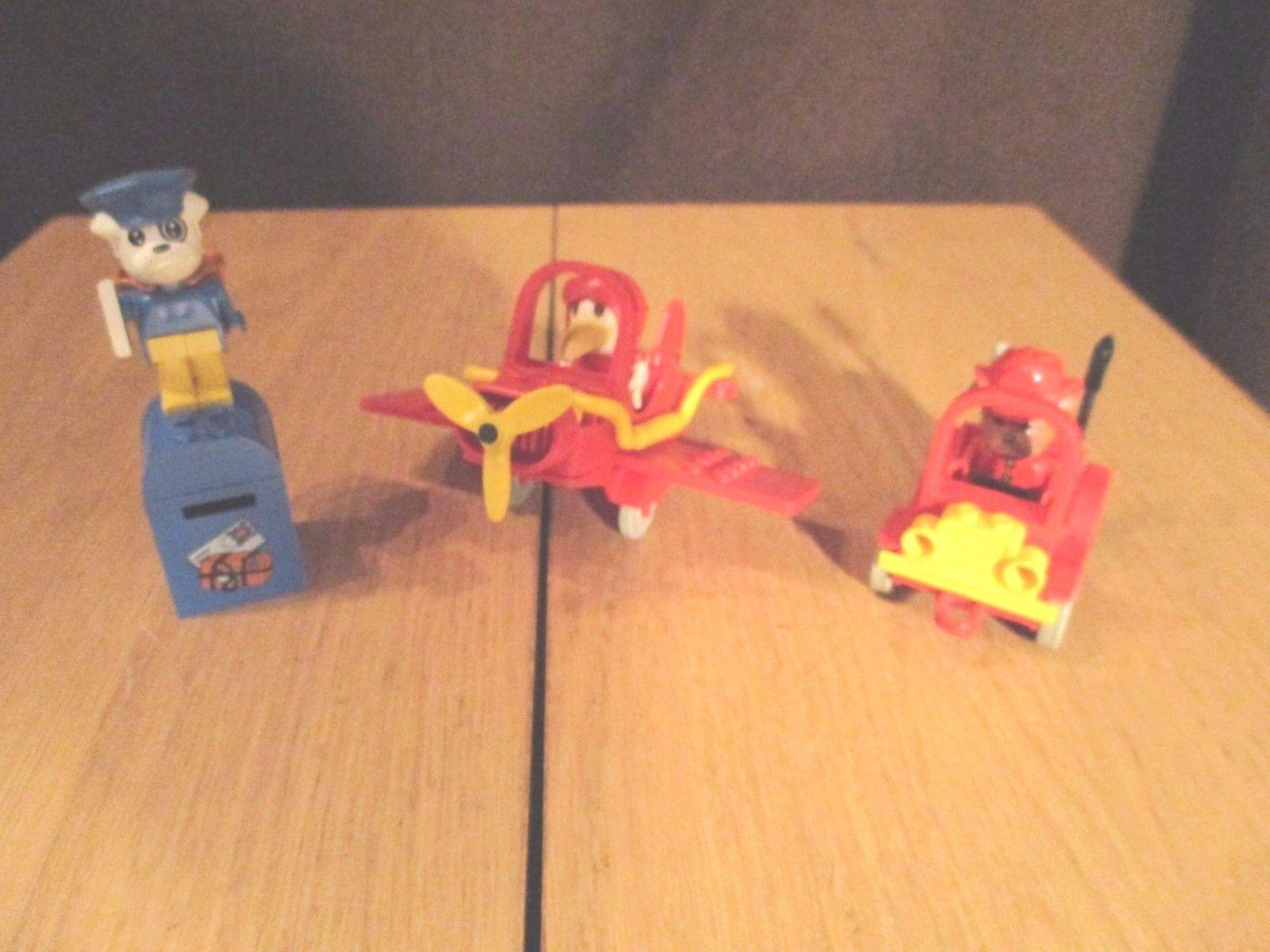 Lego - Fabuland -  Briefträger  ,Flugzeug Feuerwehrauto mit Figuren