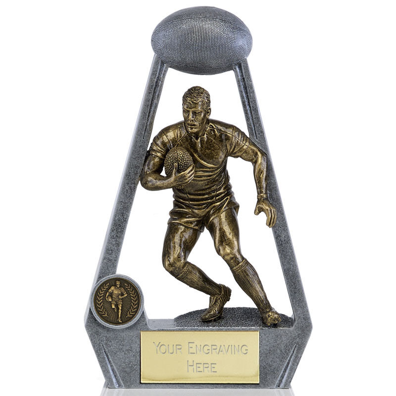 A1693A X 16 RESIN RUGBY TROPHIES SIZE 12.5 CM FREE ENGRAVING