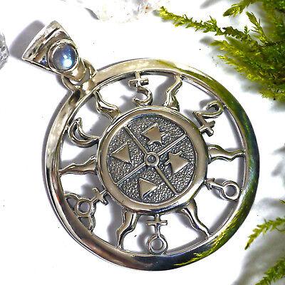 Peter Stone 925 Silber 4 Elemente Amulett Universelle Kraft Planeten Mondstein