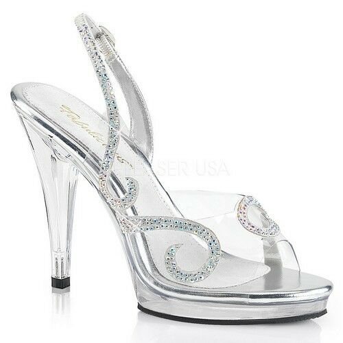 Fabulicious FLAIR-457 Women's Clear Grey Heel Open Toe Slingback w/ Stone Sandal