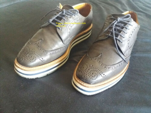 Prada 2EG015 Spazzolato Brogue Creeper Derby Leath
