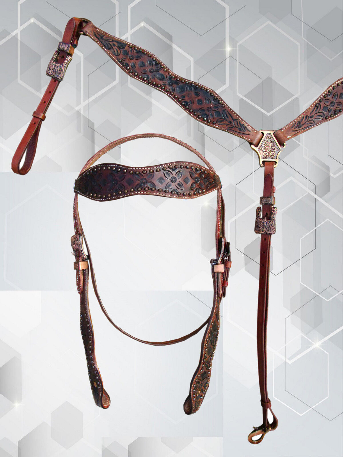 WESTERN  RACING SHOW EVENT PARADE HORSE HEADSTALL BREASTCOLLAR SET LEATHER BRIDLE  sale online