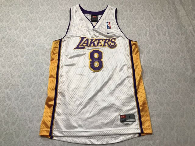Nike Kobe Bryant Jersey Youth Large White Lakers 8 Stitch for sale ...