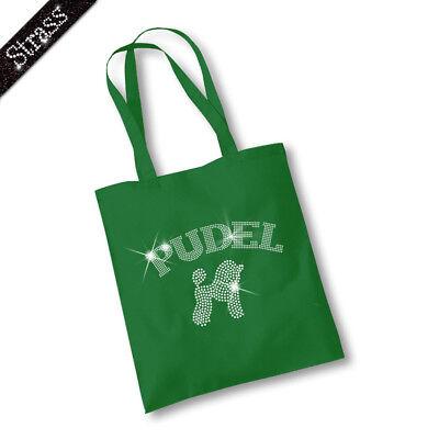 Jutebeutel Beutel Einkaufstasche Bag Sac Handtasche Tasche Strass Hund Pudel M2