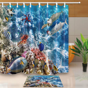 Image Is Loading Tropical Fish And Coral Reefs Shower Curtain Bathroom