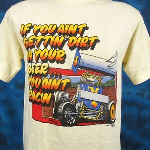 Image Is Loading Vtg 80s DIRT IN YOUR BEER SPRINT CAR