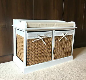 Beau Image Is Loading White Wicker Storage Bench Unit Seat Baskets Drawers