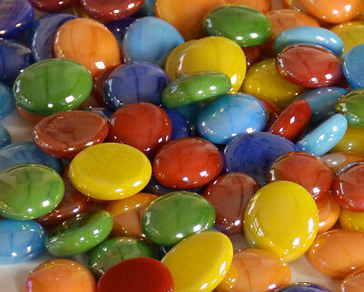100 x Glass Pebbles / Nuggets / Stones / Gems - Tropical Opalescent Mix