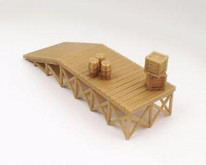 Outland-Models-Train-Railway-Wooden-Style-Platform-Loading-Dock-w-Goods-HO-Scale