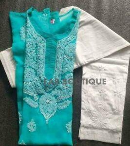 Indian Chikankari Georgette Blue Kurta Hand Embroided Ethnic Wear Chikan Kurti