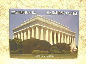 "WASHINGTON D.C. THE NATION'S CAPITOL 3 1/2"" SOUVENIR REFRIGERATOR MAGNET - NICE"