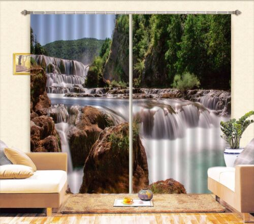 3D River Falls Blockout Photo Curtain Printing Curtains Drapes Fabric Window AU