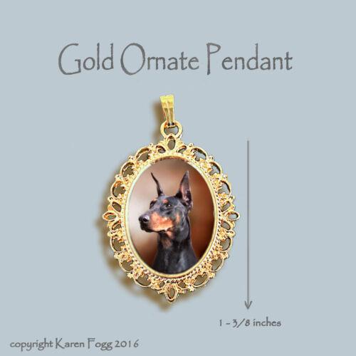 DOBERMAN PINSCHER Black Crop Ear Dobie ORNATE GOLD PENDANT NECKLACE