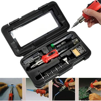 HS-1115K 10 in 1 Professional Gas Soldering Iron Cordless Welding Torch Tool Kit