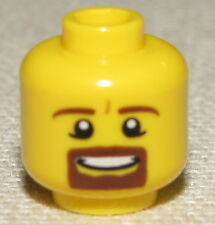 LEGO NEW MINIFIGURE HEAD WITH BROWN MUSTACHE GOATEE SMILE