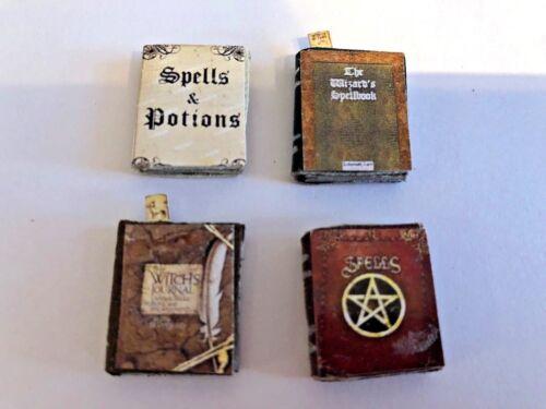 Set di 4 strega o procedure guidate assortiti INCANTESIMO libri per una casa di bambole scala 1//12