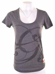 G-Star-Femme-T-Shirt-Graphique-Haut-Taille-6-XS-en-Coton-Gris-Coupe-Ample-IB01