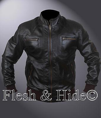 Men's Genuine Sheep Leather Fashion Bomber Jacket