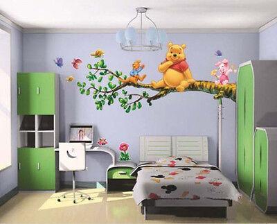 Winnie the Pooh Flowers Wall Sticker Decals Decor Vinyl Kids Nursery Mural UKWS