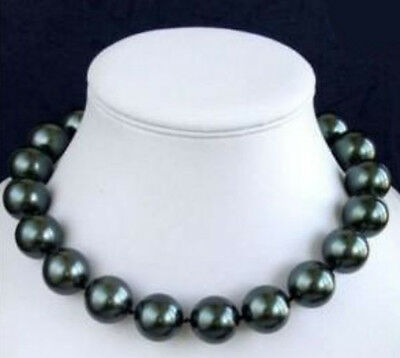 10mm 12mm 14mm 16mm 18mm 20mm Black South Sea Shell Pearl Necklace 18'' AAA