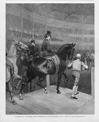 HORSE SHOW SKETCHES ENTRANCE OF SADDLE HORSES BY MAX KEPPLER 1891 ENGRAVING