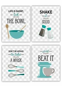 Shabby Chic Teal Kitchen Cooking Inspiration Set Of 4 8 X10 Prints Wall Art Ebay