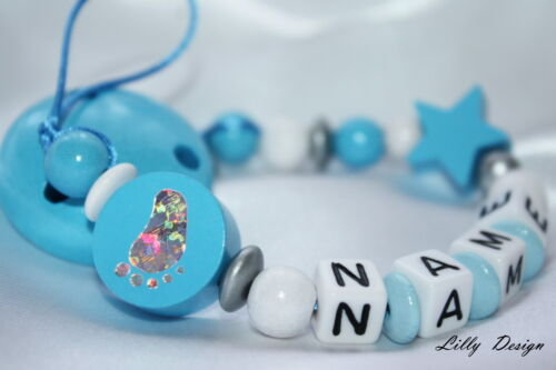 """Strap Baby Present Personalised Wooden dummy clip Chain /""""Glitter Foot/"""""""