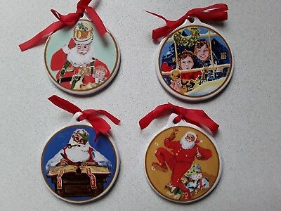 Ceramic Christmas Tree Decorations.Set Of 4 Superb Ceramic Christmas Tree Decorations Hanging Christmas Decorations Ebay
