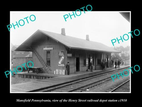 OLD 6 X 4 HISTORIC PHOTO OF MANSFIELD PENNSYLVANIA, THE RAILROAD DEPOT c1910