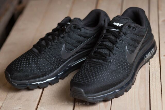 super popular f2f0c 75f6b Nike Air Max 2017 Mens Triple Black Running Shoes 849559-004 -size 10