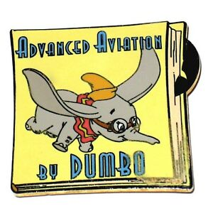 Le Disney Auction Pin Advanced Aviation Dumbo Elephant Book Cover Flying Goggles Ebay