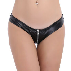 fa54d7cb403 Image is loading Women-Crotchless-Faux-Leather-Briefs-Shorts-Underwear-Mini-