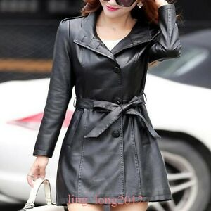 Womens-Lapel-Collar-Faux-Leather-Belt-Jacket-Single-breasted-Slim-Coats-Outwear