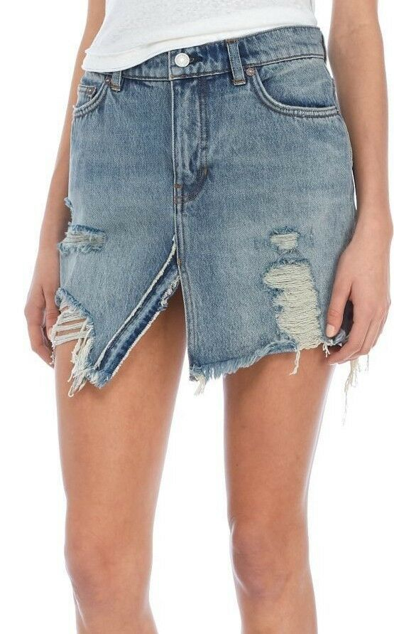 Free People OB756063 Relaxed & Destroyed Denim Skirt in Harvest Bell bluee