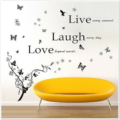 Huge Butterflies Vine Love Quote Wall Stickers Decal Wallpaper Kids