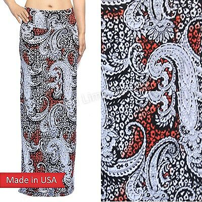 Women Paisley Flower Floral Coral Ombre Fold Over Waistband Long Maxi Skirt USA
