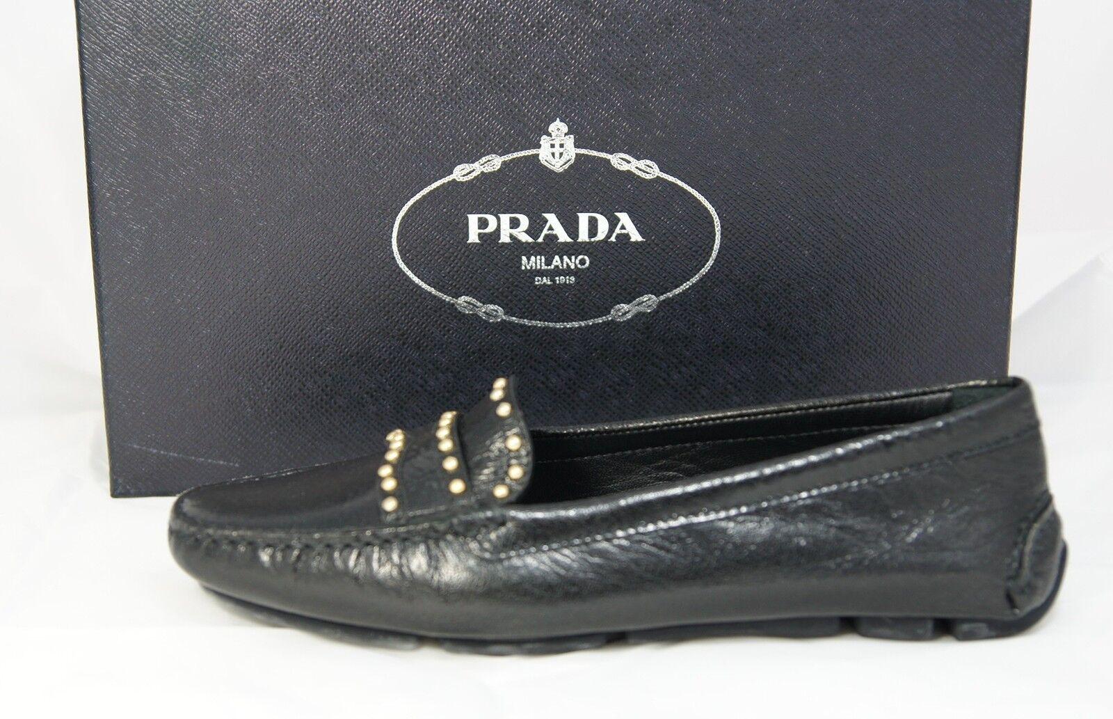 PRADA Gr 36,5 Halbschuhe Slipper Mokassins Loafers Schuhe schwarz neu
