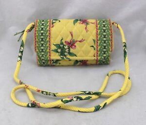 VERA-BRADLEY-Lily-Of-Valley-Yellow-Green-Pink-Bow-Ribbon-Crossbody-Wallet-Bag