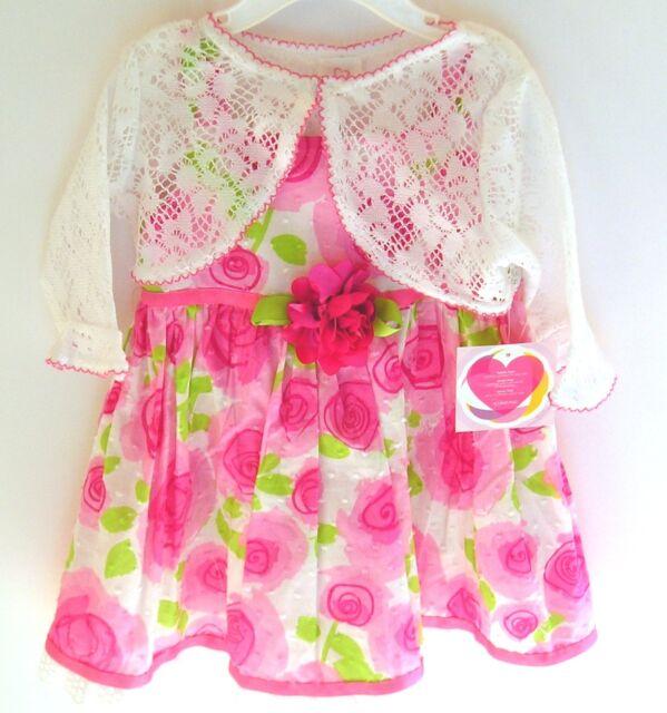Youngland Dress 24 months Pink Floral & Crochet Shrug Cardigan 2 piece NWT