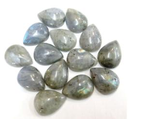 2 pcs  shimmering Labradorite  teardrop natural cabochons size 18x25mm,