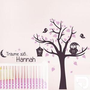 Details zu Wandtattoo Träume süß mit Name Eule und Baum - Babyzimmer Deko  von DESIGNSCAPE®
