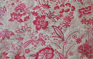 Antique-French-Indienne-Strawberry-Pink-Floral-Cotton-Fabric